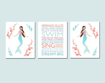 Mermaid Room Decor Mermaid Decor Mermaid Art Mermaid Rules Mermaid Bathroom Art Mermaid Quote Mermaid Set of 3 Prints - CHOOSE YOUR COLORS