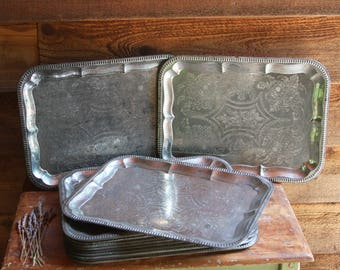 Vintage Silver TRAYS (5) Distressed Patina Made in Germany- Tray Lot- Wedding Tray Serving Trays- Wedding Decor- Antique