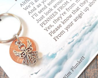 Pennies From Heaven Keychain  - Original Poem - With Penny & Beautiful Filigree Angel Charm