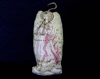 SALE Angel ORNAMENT Double Horn Vintage BEADED Fabric Ornament Sequin Embellishment Tree Wreath Garland Shelf Sitter (MR5)
