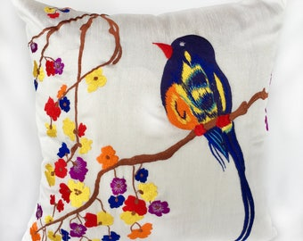 white bird pillow.  Garden theame  decorative throw pillow cover with  colorful   bird embroidery tropical pillow.  Sammer cushion 18inch