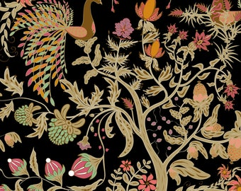 Birds of Paradise Fabric - Birds Of Paradise Black By Fuzzyfox - Vintage Bird Home Decor Cotton Fabric By The Yard With Spoonflower
