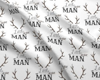 Woodland Nursery Fabric - Little Man Arrow Horns By Hudsondesigncompany - Antler & Arrow Baby Boy Cotton Fabric By The Yard With Spoonflower
