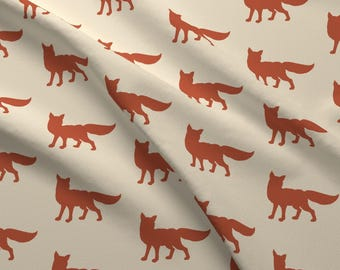 Red Fox Fabric - Fox Rust/Red By Sugarpinedesign - Woodland Nursery Decor Cotton Fabric By The Yard With Spoonflower