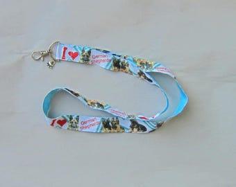 Handmade Grosgrain & Satin Ribbon Dog GERMAN SHEPHERD Lanyard/Keychain/Badge Holder w/Metal Charm