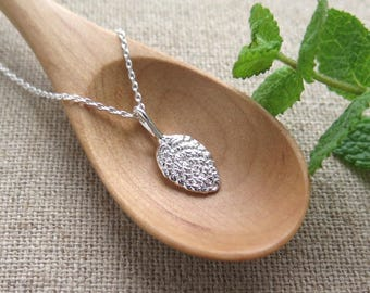 Small Apple Mint Leaf Pendant Necklace - Pure Silver Real Leaf Pendant, Herb Jewelry