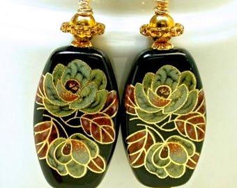 Vintage Japanese Tensha Black Bead Dangle Drop Earrings, Cinnabar Red Gold Rose Flower,Gold Ear Wires -Shinjuku Pagoda - GIFT WRAPPED