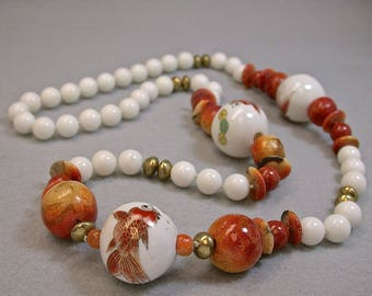 Vintage Apple Coral Bead Knotted Necklace,Vintage Chinese Koi Fish White Porcelain Beads, Vintage White Chalcedony Stone Beads -GIFT WRAPPED