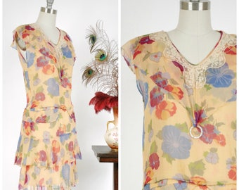 Vintage 1920s Dress - Fantastic Warm Yellow  Silk Chiffon 20s Dress with Tiered Fluttering Hemline and Capelet Collar in Bold Floral Print