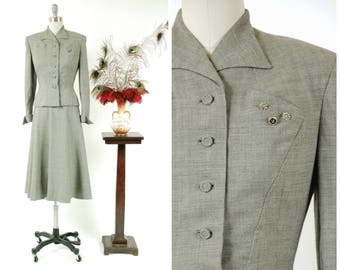 Vintage 1950s Suit - Salt and Pepper Woven Wool Tailored 50s Suit with Short Jacket and Gored Skirt