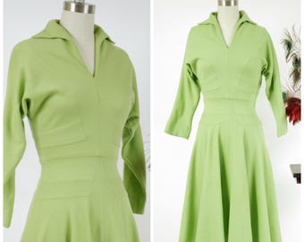 Vintage 1950s Dress - Autumn 2017 Lookbook - The Honeycrisp Dress - Darling Bold Lime Green Fitted Wool Day Dress with Excellent Seamwork