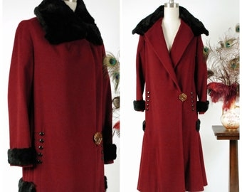 Vintage 1920s Coat - Rare Cinnamon Red Wool Stylish Early 20s Coat with Soft Sheared Fur and Button Accents, Flared Hem