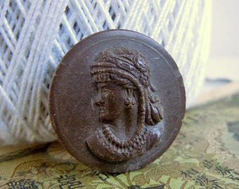 Vintage Molded Victorian Gypsy Lady Bust Picture Plastic Sewing Button