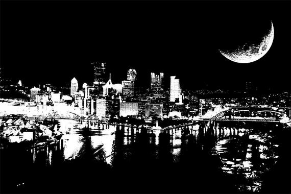 half moon city at night abstract art png jpg printable architecture landscape Digital Download graphics Image black and white illustration