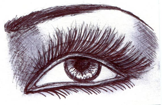 long lashes womans eye sketch Aceo drawing ORIGINAL art ink illustration art ACEO art card ATC artist trading card Elizavella