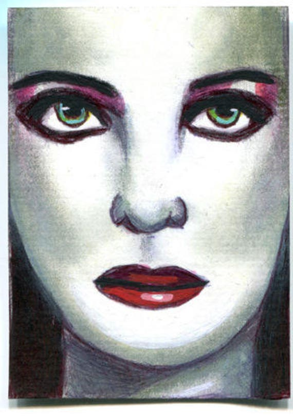 gothic vampire woman face sketch Aceo drawing ORIGINAL art ink illustration art ACEO art card ATC artist trading card Elizavella