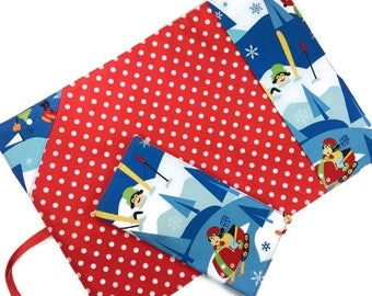 Skiing monkeys lunch placemat + cloth napkin set, roll up reusable cotton retro mat ustensil cutltery fabric travel child kids boy girl gift