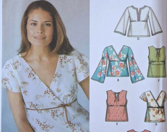 Simplicity 5099 Sewing Pattern Misses' Pullover Tops 6 Tops Made Easy Cross Front Sleeve Variations UNCUT Factory Folds Sizes 8-10-12-14