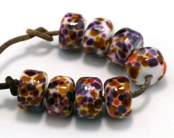 Confetti Drops Handmade Lampwork Beads by Pink Beach Studios 8 count (1570)