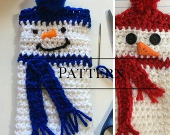 Snowman Fingerless Glove Crochet Pattern