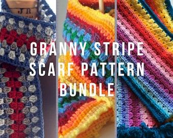 Granny Stripe Scarves 3 Pattern bundle - Stripe scarf pattern set