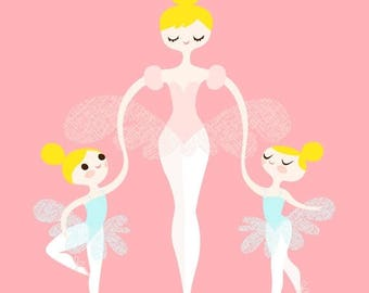 "SUMMER SALE 8X10"" ballerina mommy and twins giclee print on fine art paper. pink, ice blue, blonde."