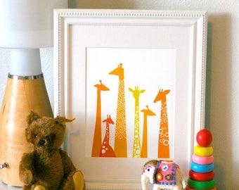 "SUMMER SALE 11X14"" giraffe silhouettes giclee print on fine art paper. orange & yellow."