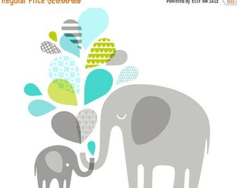 """SUMMER SALE 14X11"""" Elephants silhouettes landscape giclee print on fine art paper. Turquoise and teal blue, spring green, gray."""