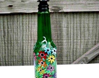 Dish Soap Dispenser,  Recycled Green Beer Bottle, Painted Glass, Oil and Vinegar Bottle, Colorful Flowers, Bottle Dispenser, Kitchen Art