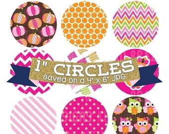 "50% OFF SALE Digital Collage Sheet 1"" Digital Bottlecap Images Pumpkin Owls Girls Personal & Commercial Use One Inch Circles"