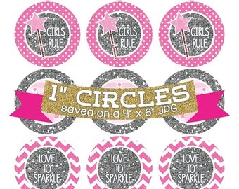 50% OFF SALE Pink Princess Crowns Digital Collage Sheet Bottlecap Images Silver Glitter Instant Download Bottle Cap Graphics One Inch Circle