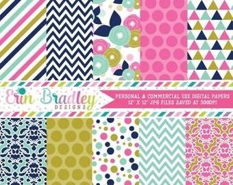 50% OFF SALE Pink Blue & Gold Digital Paper Pack Polka Dots Stripes Triangles Flowers and Damask Patterns Digital Scrapbook Paper