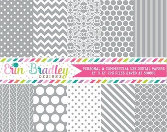 80% OFF SALE Silver Gray Digital Paper Pack Polka Dots Damask Chevron and Striped Background Patterns Digital Scrapbooking