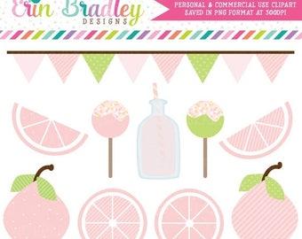 80% OFF SALE Pink Lemonade Clipart, Summer Clip Art, Beverage Clipart, Lemons and Cake Pop Food Clip Art Graphics