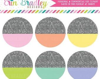 80% OFF SALE Silver Glitter Circles Clipart, Glitter Clipart, Circle Clip Art Graphics, Digital Scrapbooking Clip Art