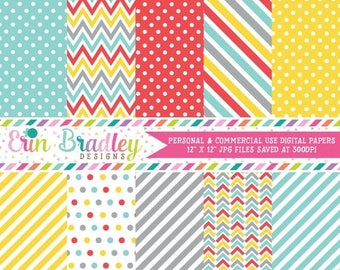 80% OFF SALE Blue Yellow Red & Gray Digital Paper Pack Commercial Use Instant Download