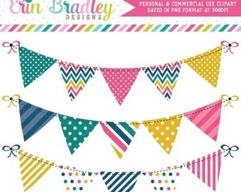 80% OFF SALE Bunting Banner Clipart Graphics Pink Yellow Teal and Blue Digital Bunting Clip Art Set Commercial Use