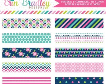 80% OFF SALE Clip Art Cheery Day Digital Washi Tape Clipart Graphics Commercial Use OK