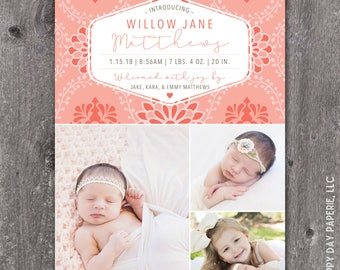 Pretty Petals - Digital or Printed Custom Baby Birth Announcement, any color