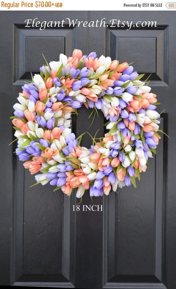 SUMMER WREATH SALE Spring Wreath- Tulip Spring Wreath- Summer Wreath- Custom Summer Door Wreath