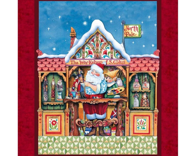CHRISTMAS SANTA PANEL, Jim Shores Santa Workshop Cotton Cloth Panel 36 x 44 inches