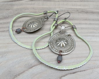 Large Gypsy Hoop Earrings, Pale Green Hoops, Lightweight, Handmade, Mandala Hoops