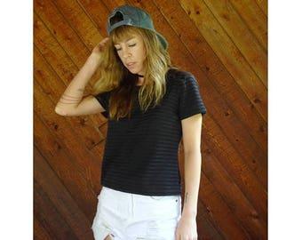 20% off SUMMER SALE. . . Black Sheer Mesh Striped s/s Top - Vintage 90s - S/M