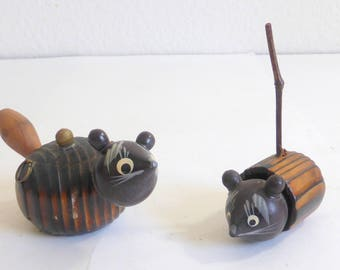 Vintage Japanese Wood Animals Set of 2 Articulated Painted Heads Painted Wood Carved Bodies Mouse and Racoon Wood Animals Bobble Head Mice