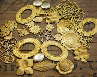 Brass Stampings Lot Mixed Lot Stampings and Findings #A36 (34 pieces)