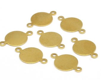 Brass Tag Connector, 100 Raw Brass Cabochon Tags, Stamping Tags, Round Connectors (10mm) N505