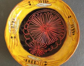 Honeybee ceramic bowl, slab built pottery