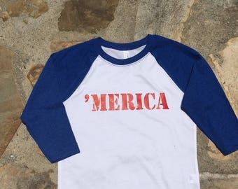 Youth MERICA baseball raglan shirt.  Youth America Shirt.  Independence Day Tshirt.  USA raglan Tshirt.  Product #NL3352