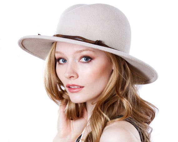 Fall Accessories Winter Accessories Women's Fedora Wide Brimmed Hat Fall Fashion Dressy Hat Custom Hat Leather Trim Hat 3 Inch Brim
