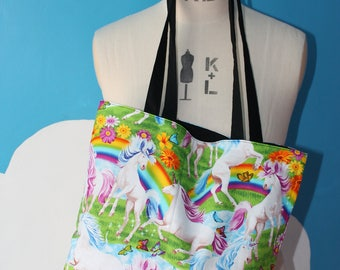 rainbow unicorns tote bag